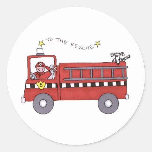 Fire Engine Round Stickers