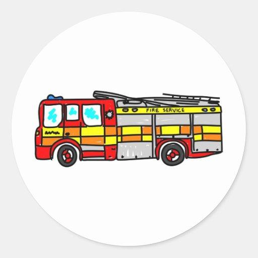 Fire Engine Round Sticker
