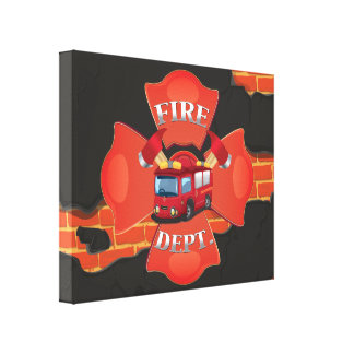 Fire Engine Stretched Canvas Print