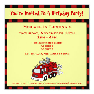 Fire Engine Truck  and Fireman Kids Birthday Party 13 Cm X 13 Cm Square Invitation Card