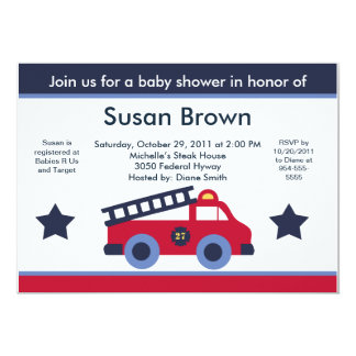 Fire Engine/Truck Baby Shower Invitation