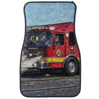 Fire Engine Truck, Fireman's Emergency Vehicle Car Mat