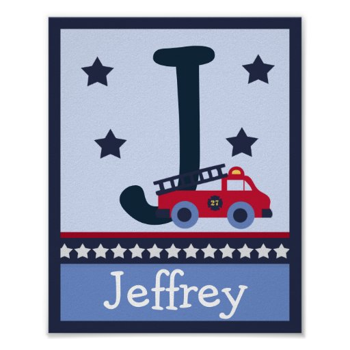 Fire Engine/Truck Letter & Name Wall Art Poster