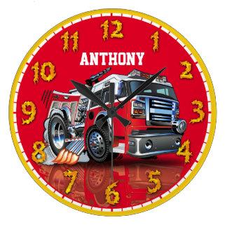 Fire Engine Truck Personalizable Children's Clock