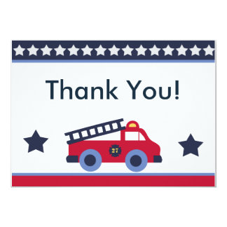 Fire Engine/Truck Thank You Cards 13 Cm X 18 Cm Invitation Card