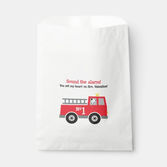 Fire Engine Valentine Favour Bags