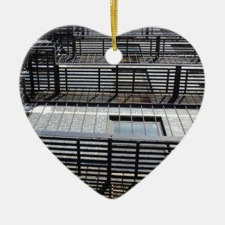 Fire Escape And Shadows Ceramic Heart Decoration