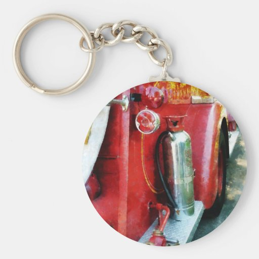 Fire Extinguisher on Fire Truck Basic Round Button Key Ring