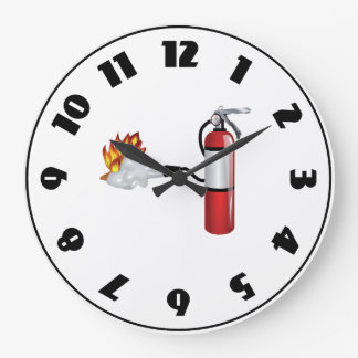 Fire Extinguisher Putting Out Fire Clock