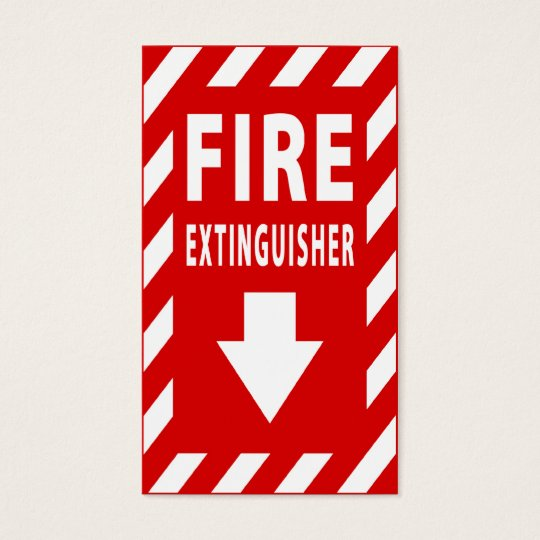 fire extinguisher sign business card