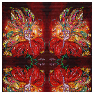 FIRE FAIRY ON THE RED FLOWER Fantasy Fabric