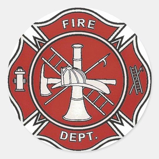 Fire Fighter Badge Classic Round Sticker