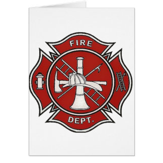 Fire Fighter Badge Greeting Card