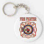 FIRE FIGHTER BASIC ROUND BUTTON KEY RING