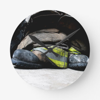 Fire Fighter Boots Round Clock