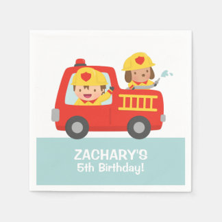 Fire fighter Boy in Red Fire Truck Birthday Party Disposable Napkin
