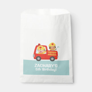 Fire fighter Boy in Red Fire Truck Birthday Party Favour Bags