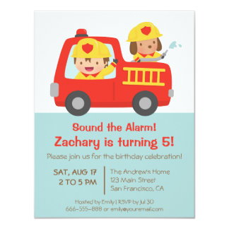 Fire fighter Boy in Red Fire Truck Birthday Party 11 Cm X 14 Cm Invitation Card