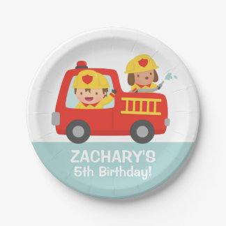 Fire fighter Boy in Red Fire Truck Birthday Party Paper Plate
