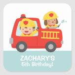 Fire fighter Boy in Red Fire Truck Birthday Party Square Sticker