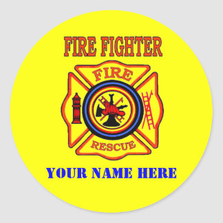 FIRE FIGHTER CLASSIC ROUND STICKER