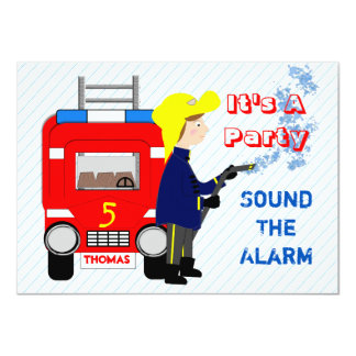 Fire-fighter Fire Engine Themed Kids Party 11 Cm X 16 Cm Invitation Card