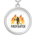 Fire Fighter Flames Round Pendant Necklace