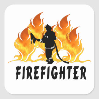 Fire Fighter Flames Square Sticker