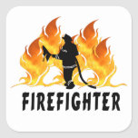 Fire Fighter Flames Square Stickers