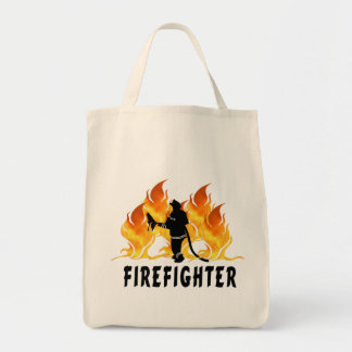 Fire Fighter Flames Grocery Tote Bag