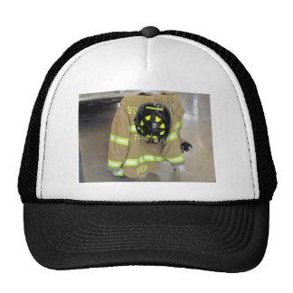 fire fighter helmit and jacket trucker hat