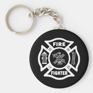 Fire Fighter Maltese Basic Round Button Key Ring