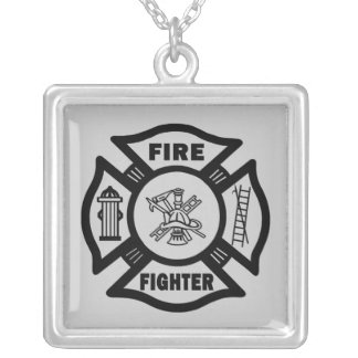 Fire Fighter Maltese Silver Plated Necklace