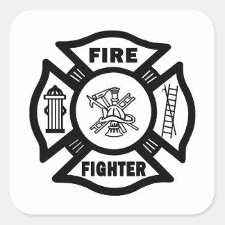 Fire Fighter Maltese Square Sticker