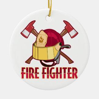 Fire Fighter Tribute Round Ceramic Decoration