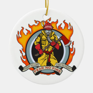 Fire Fighters Fear No Fire Round Ceramic Decoration