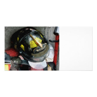 Fire Fighter's Helmet Closeup Customised Photo Card