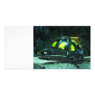 Fire Fighter's Helmet Photo Greeting Card