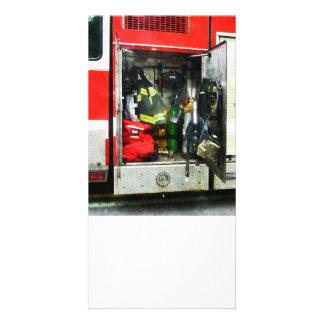 Fire Fighting Gear Custom Photo Card