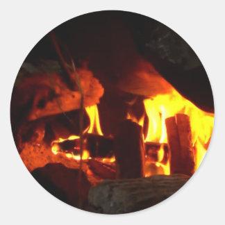 FIRE : Fireplace Hearth Round Sticker