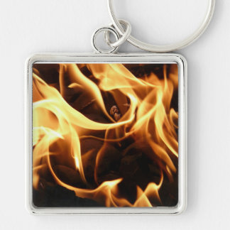fire, flame, barbecue, charcoal, carbon, hot, burn Silver-Colored square key ring