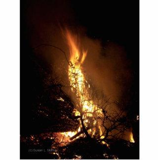 Fire flame man shape burning bonfire picture photo sculpture badge