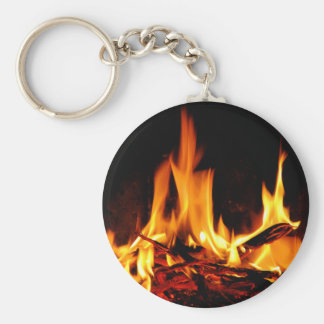 fire flame on black background keychain