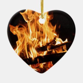 Fire & Flames 2 Ceramic Heart Decoration