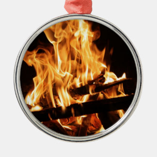 Fire & Flames 2 Silver-Colored Round Decoration