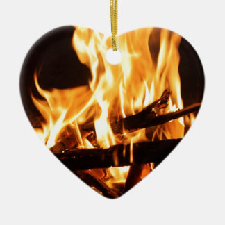 Fire & Flames Ceramic Heart Decoration
