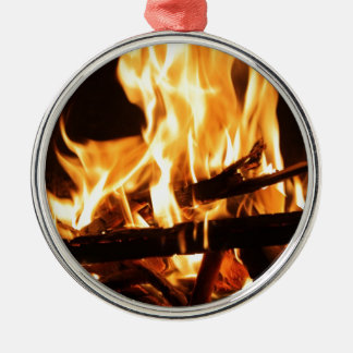 Fire & Flames Silver-Colored Round Decoration