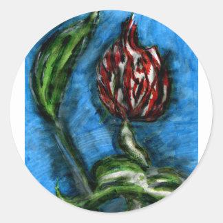 Fire Flower Black Bottom Mambo In The Style Of Bon Round Sticker