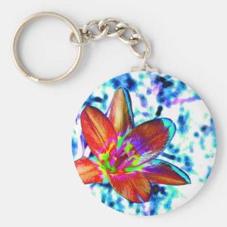 Fire flower basic round button key ring