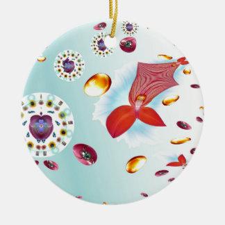 Fire Flower Round Ceramic Decoration